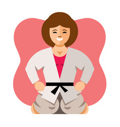 girl in kimono flat style colorful cartoon vector image
