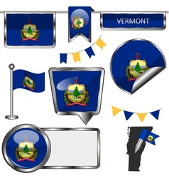 Glossy icons with Vermonter flag vector