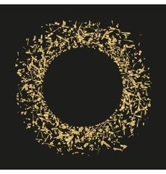 Golden sequins are scattered on a black background vector