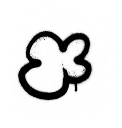 Graffiti sprayed cloud shape in black on white vector