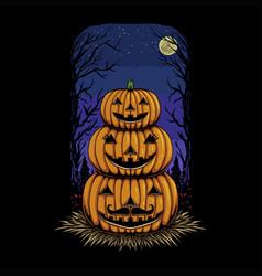 halloween family pumpkin head vector image