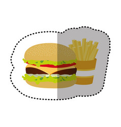 Hamburger and fries french icon vector