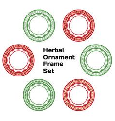 herbal ornament frame set vector image