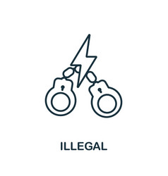 Illegal icon thin outline style design from vector