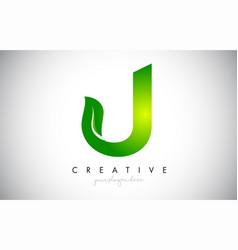 J leaf letter logo icon design in green colors vector