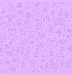 line bitcoin seamless pattern vector image