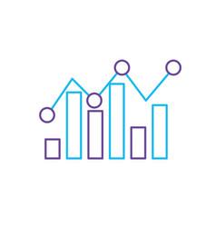 Line statistics bar diagram data graph data vector