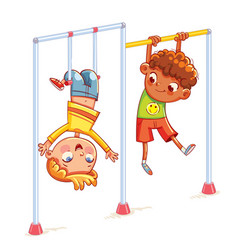 Little boy playing on the horizontal bar vector