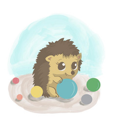 little hedgehogs play ball colorful cute cartoon vector image