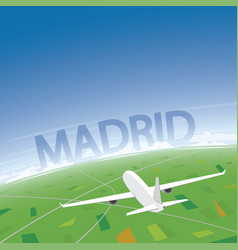 Madrid flight destination vector