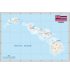 map us state hawaii with flag vector image