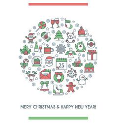 merry christmas circle banner vector image