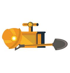 Mining helmet with detonator and shovel vector