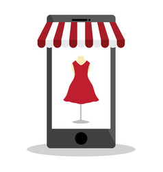 Mobile with shopping online and red dress on white vector