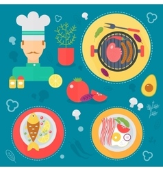 Modern cooking love flat concept Kitchen tools vector image