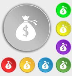 Money bag icon sign Symbols on eight flat buttons vector image
