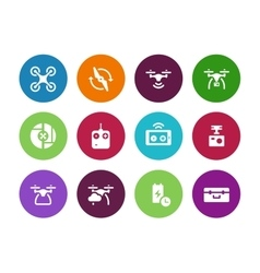 Multicopter drone circle icons on white background vector