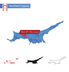 Northern cyprus blue low poly map with capital vector