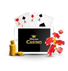 Online casino design poster banner Tablet with vector
