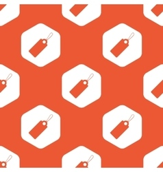 Orange hexagon string tag pattern vector image