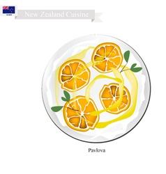 Pavlova Meringue Cake With Pitaya Fruits vector