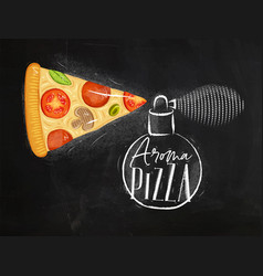 poster aroma pizza chalk vector image