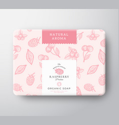 Raspberry bath soap cardboard box abstract vector