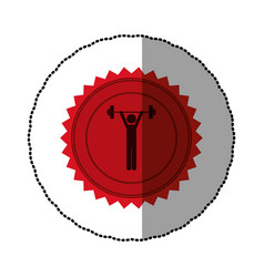 Red emblem person lifting weights gym vector