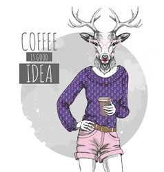 Retro hipster fashion animal deer with coffee vector