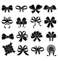 Ribbon knot icons set vector
