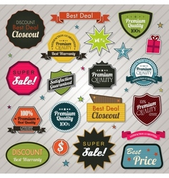 Sales price tags stickers and ribbons vector