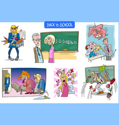 school and education humorous carton set vector image