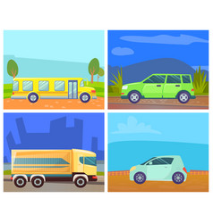 school bus and lorry minicar and green minivan vector image