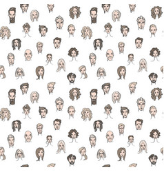 seamless pattern of male and female doodle hand vector image