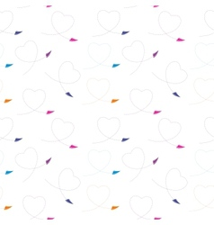 Seamless pattern with paper plane and heart vector image
