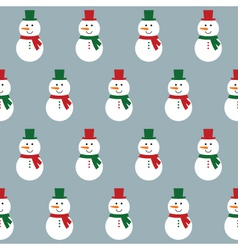 Seamless pattern with snowmen vector