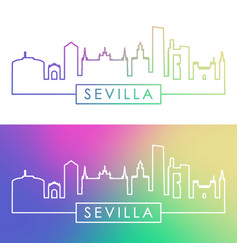 Sevilla skyline colorful linear style editable vector