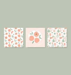simple peach seamless pattern hand drawn design vector image