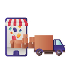 smartphone with tent and gift box isolated icon vector image