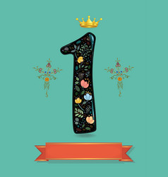 sparkling floral number one with golden crown vector image