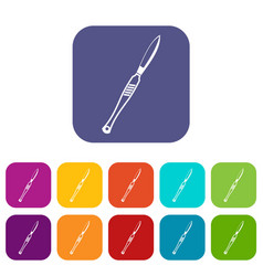 Stainless medical scalpel icons set flat vector