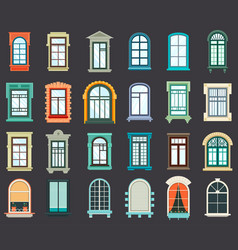 Stone or plastic windows exterior view vector