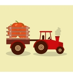 Tractor farm with vegetables vector