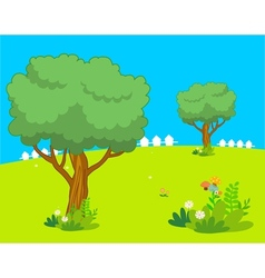 Trees spring lanscape vector