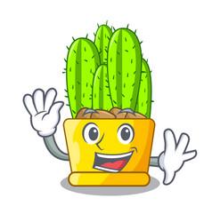 Waving cereus cactus bouquet on character cartoon vector