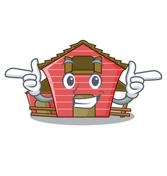 Wink a red barn house character cartoon vector