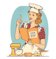 young woman chef in retro style clothes cooking vector image