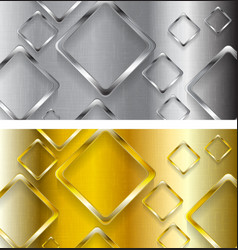 Abstract tech metallic and golden banners vector