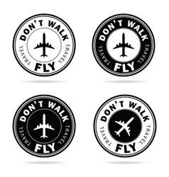 flying icon set travel in black and white color vector image vector image