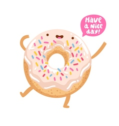 Funny donut character vector image